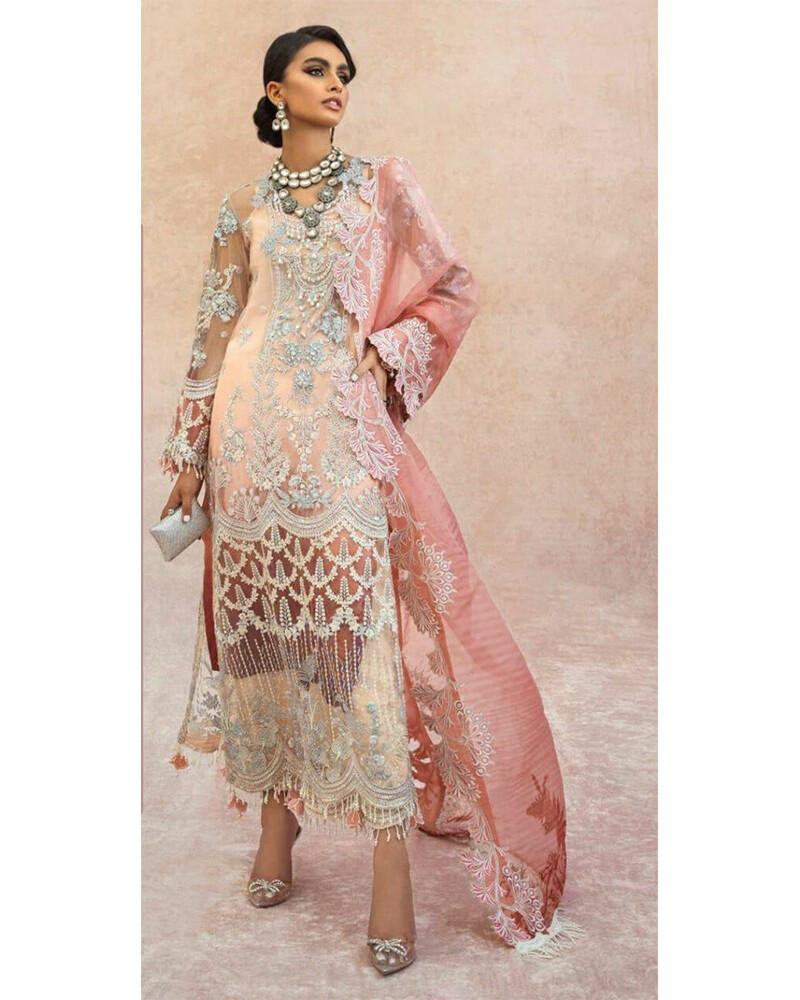 Heavy Embroidery Georgette Net Plazzo Suit In Peach