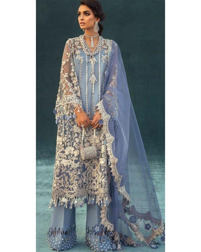 Heavy Embroidery Georgette Net Plazzo Suit In Blue