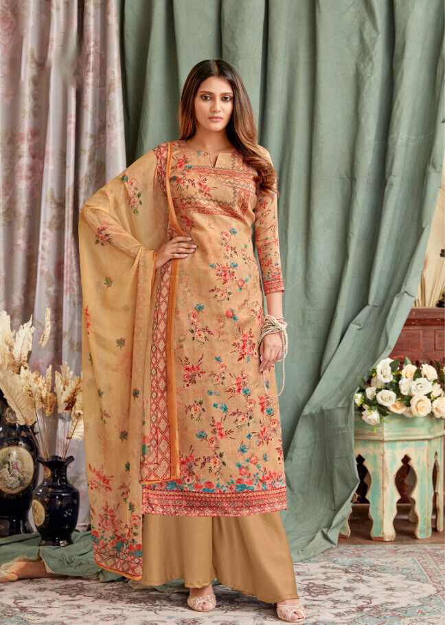 Embroidered Digital Print Pure Cotton Plazzo Suit In Mustard Yellow