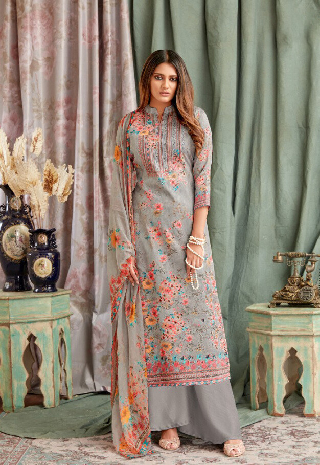 Embroidered Digital Print Pure Cotton Plazzo Suit In Teal Grey