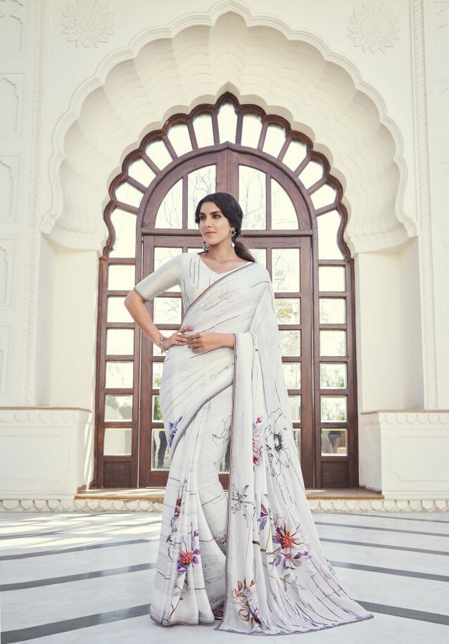 Fancy Party Wear Saree In White