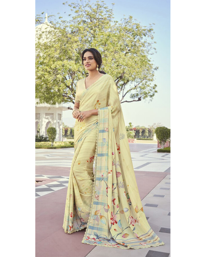 Fancy Party Wear Saree In Light Yellow