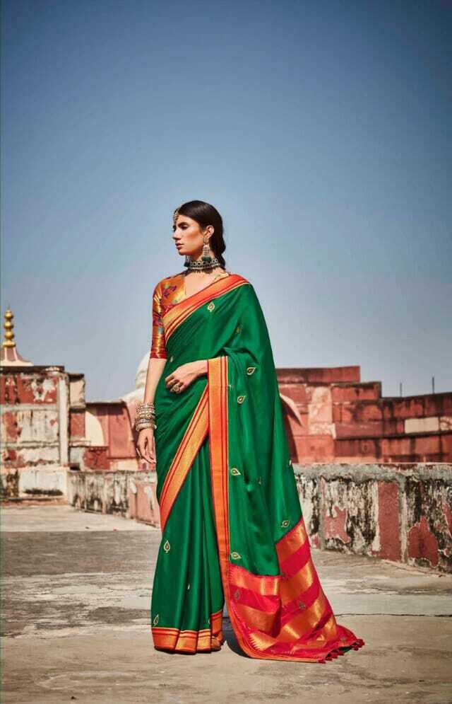 Resham Work Silk Saree In Dark Green