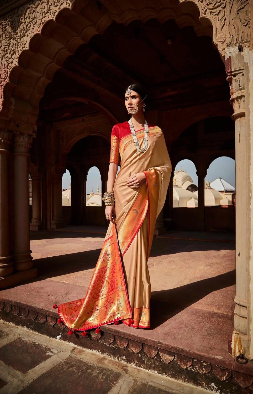 Resham Work Silk Saree In Cream
