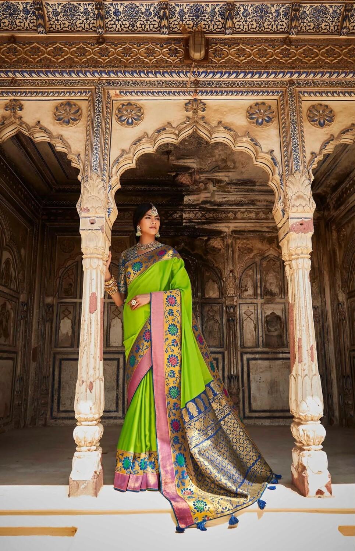 Resham Work Silk Saree In Chartreuse Green