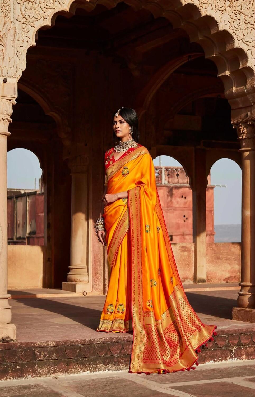 Resham Work Silk Saree In Orange Red