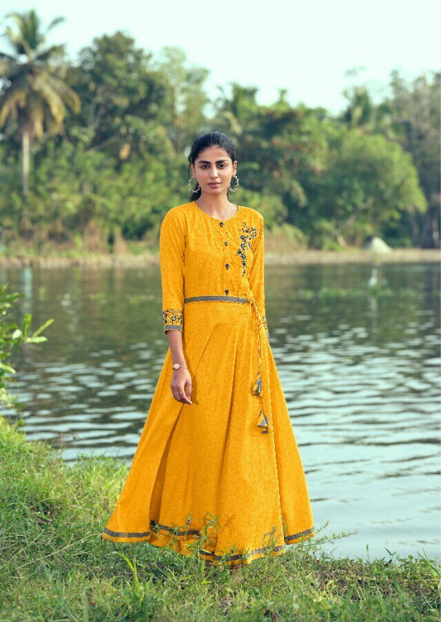 Embroidered Liquid Dobby Gown In Yellow