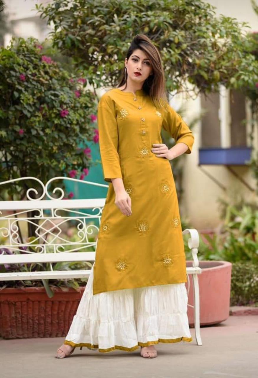 Mustard Yellow Rayon Printed Plazzo Suit