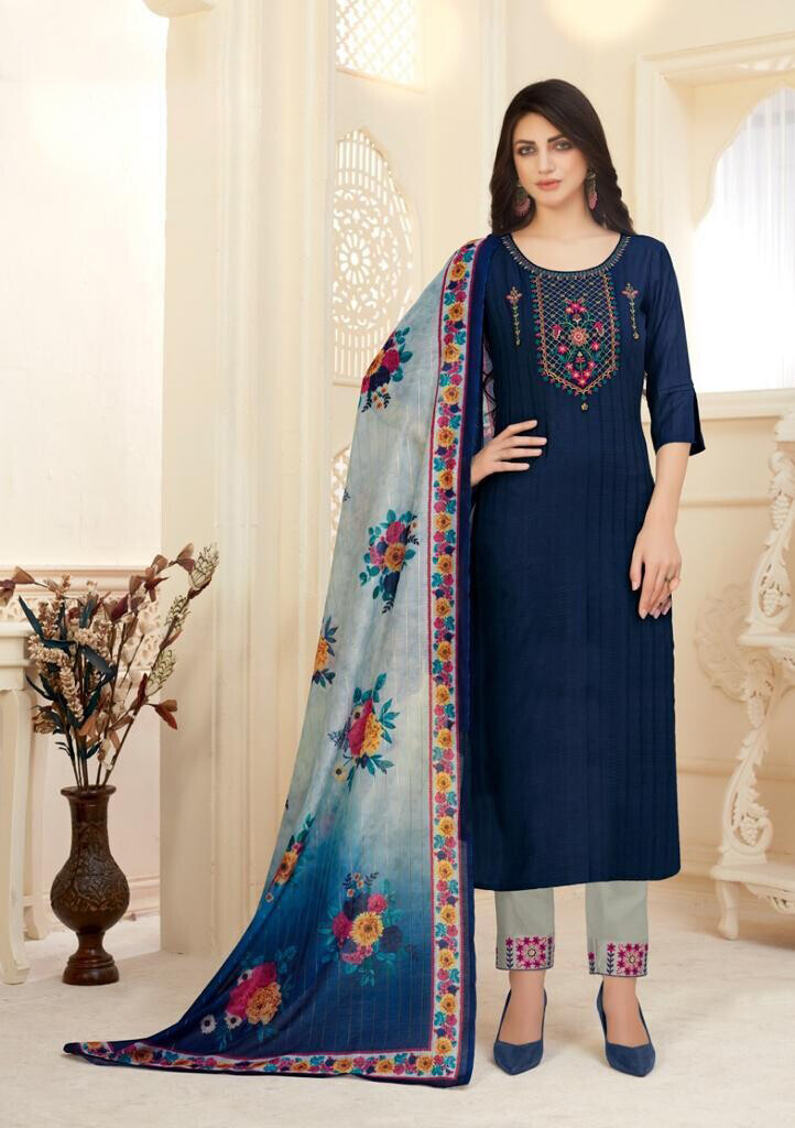 Viscose Embroidered Pant Suit In Navy Blue