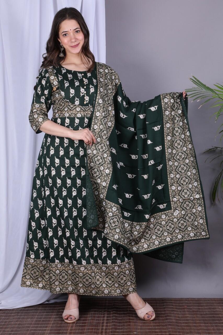 Dark Green Rayon Printed Anarkali Suit