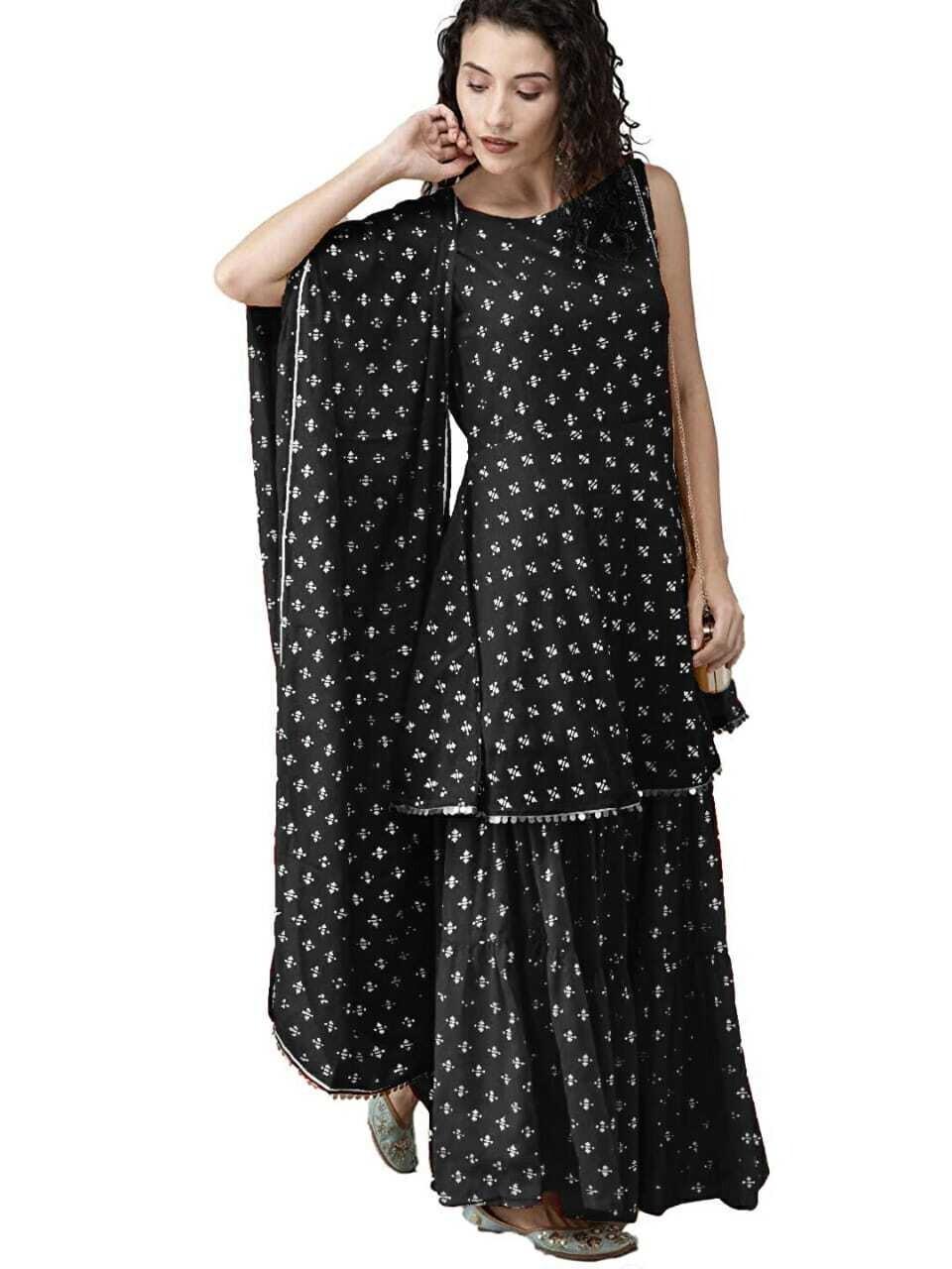 Black Rayon Printed Sharara Suit