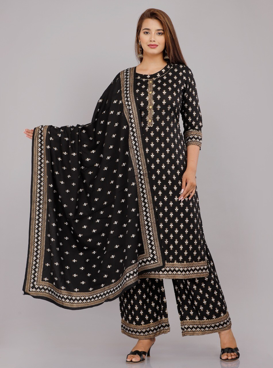 Printed Rayon Plazzo Suit In Black