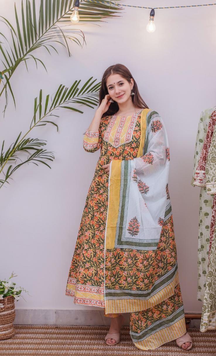 Yellow Printed Work Anarkali Suit