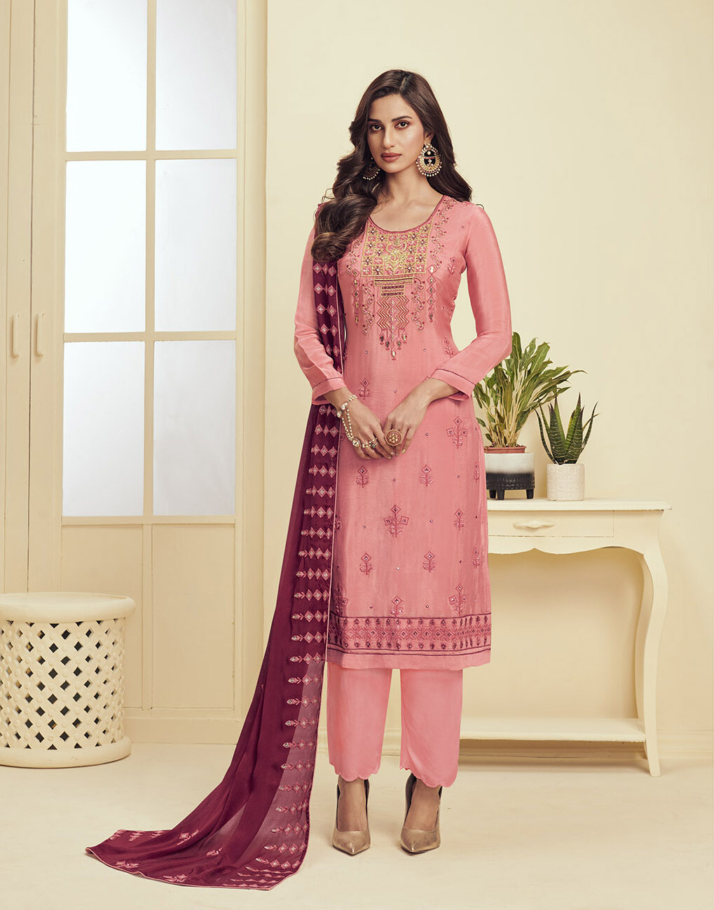Khatli Sequence Embroidered Pant Suit In Rouge Pink
