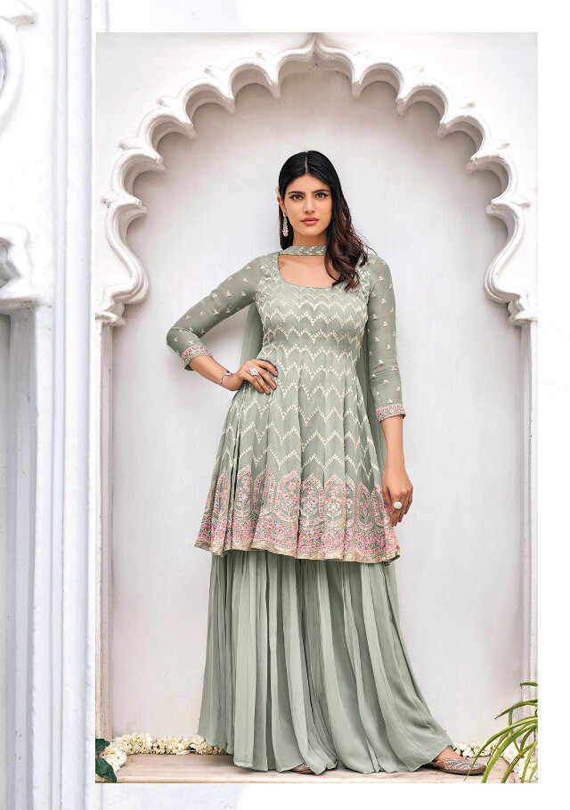 Embroidered Pure Viscose Georgette Sharara Suit In Sea Green