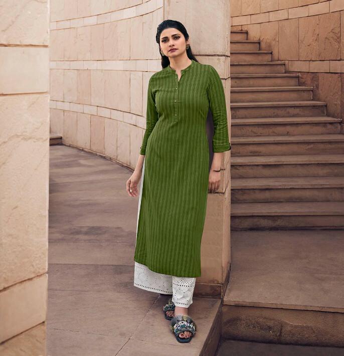 Fancy Rayon Dobby Plazzo Suit In Mehendi Green