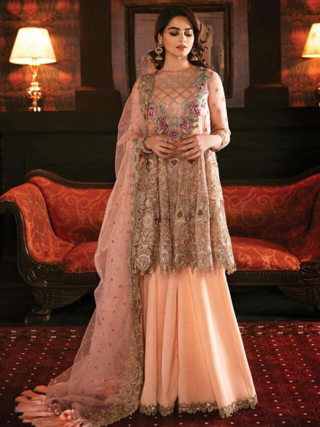 Embroidered Work Georgette Sharara Suit In Peach