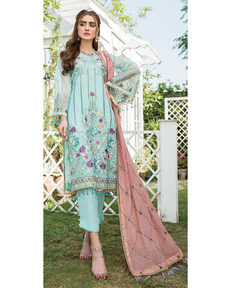 Heavy Embroidered Georgette Pakistani Suit In Sky Blue