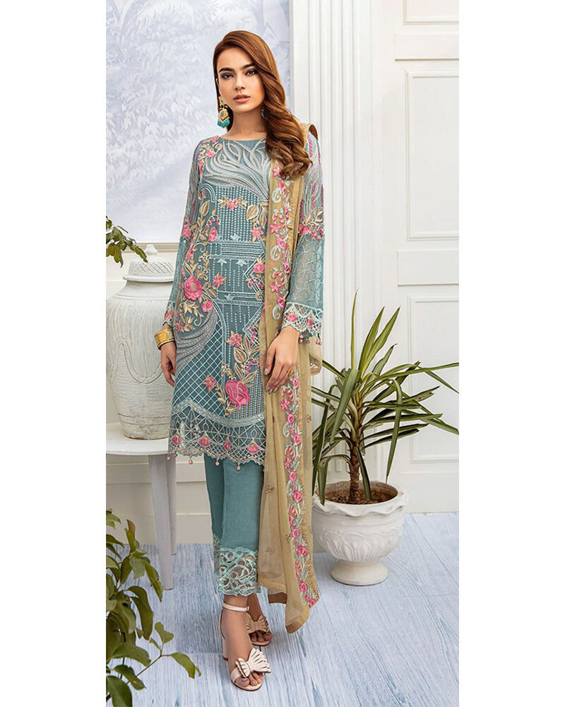Heavy Embroidered Georgette Pakistani Suit In Teal Grey