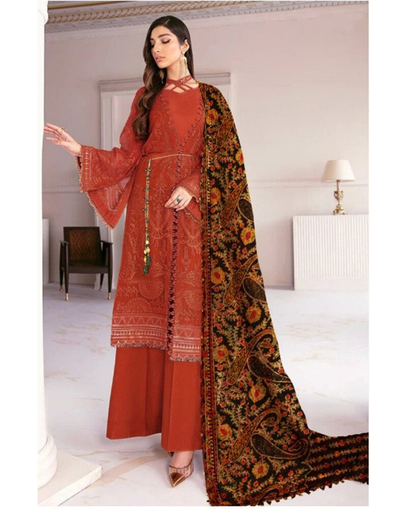 Heavy Embroidered Georgette Pakistani Suit In Red