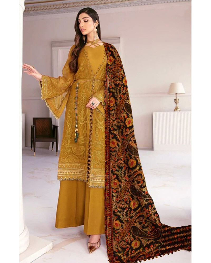 Heavy Embroidered Georgette Pakistani Suit In Mustard Yellow