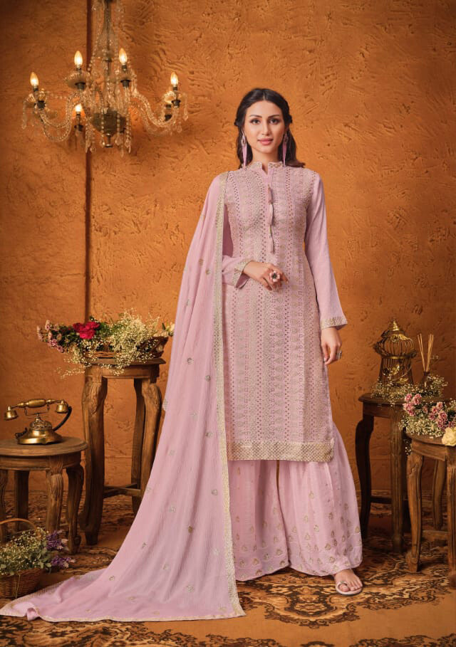 Baby Pink Sequenced Chinon Sharara Suit