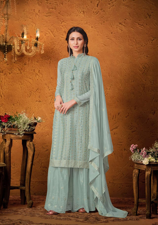 Blue Sequenced Chinon Sharara Suit