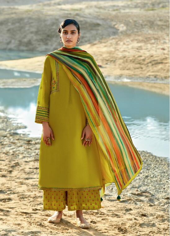 Lime Green Embroidered Cotton Silk Plazzo Suit