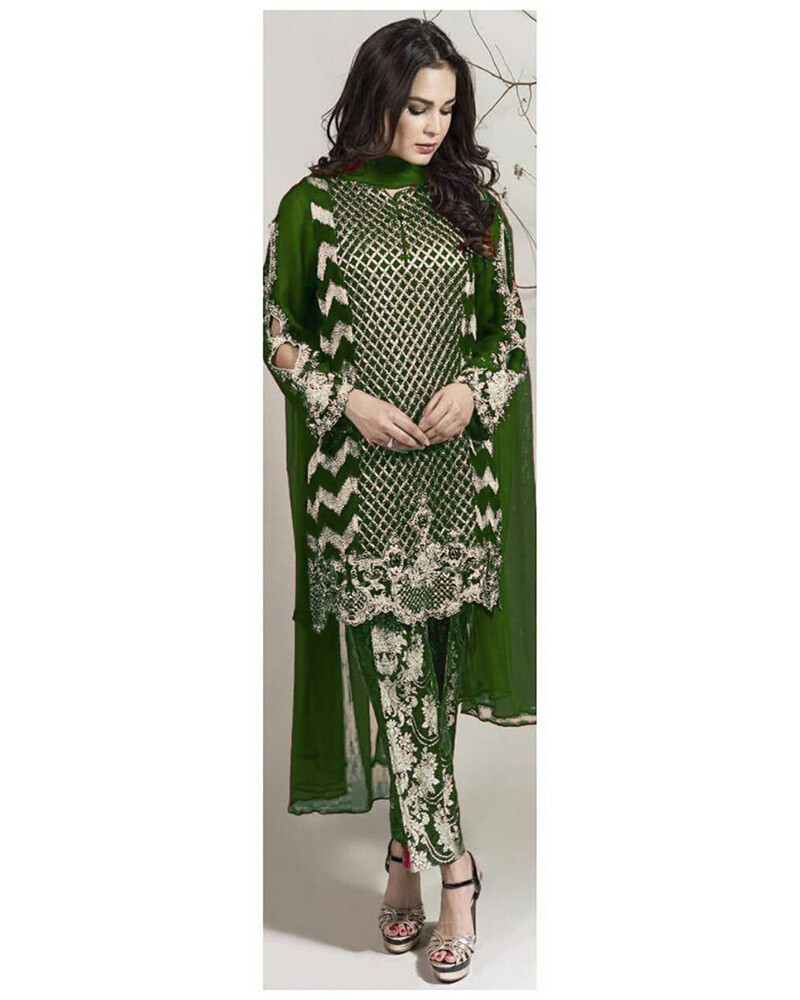 Embroidered Georgette Pakistani Suit In Green