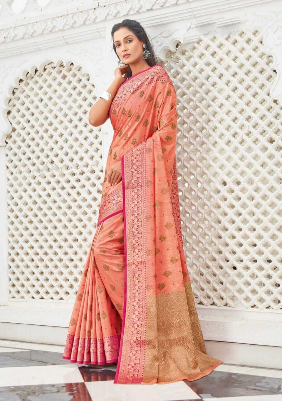 Cotton Handloom Weaving Saree In Peach