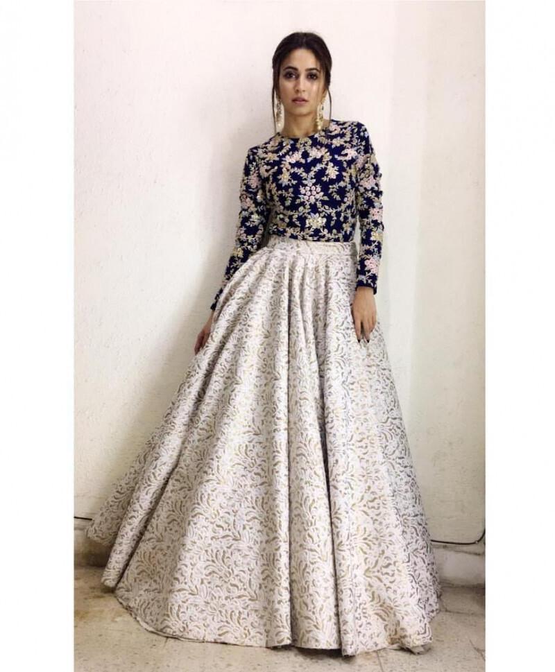 Kriti Kharbanda Off White Silk Embroidery Work Brider Wear Lehenga Choli