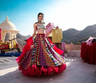 Designer Multicolor Rayon Cotton Embroidered Mirror Work Lehenga Choli