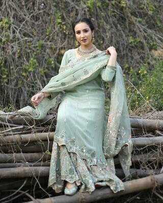 Party Wear Pista Sequence Latest Designer Sharara Suit