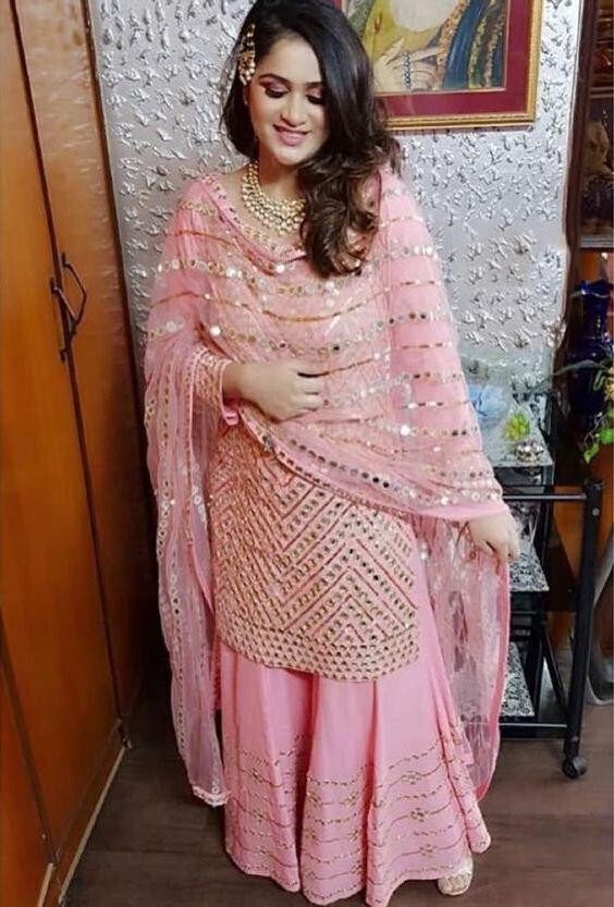 Party Wear Light Pink sharara Suit For Girls