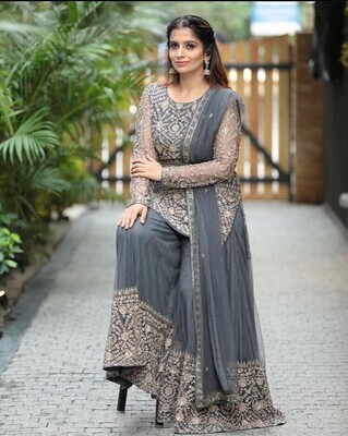 Latest Grey Georgette With Embroidery Work Party Wear Sharara Suit
