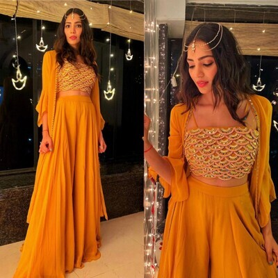 Party Wear Yellow Designer Sharara Suit
