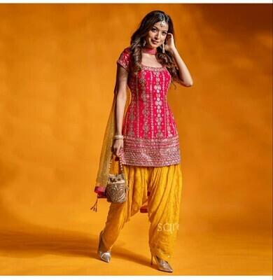 Festival Wear Pink And Yellow Silk Patiyala Suit