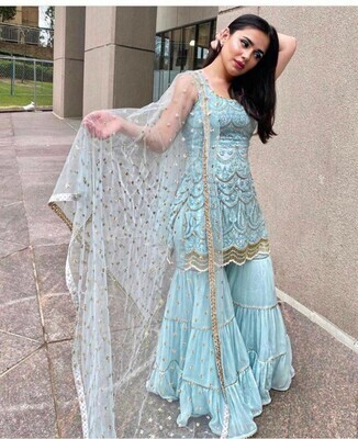 Designer Sky Blue Party Wear Gown With Long Koti
