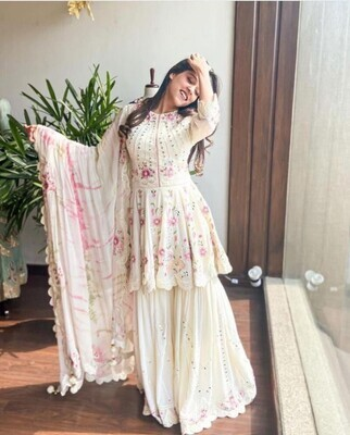 Designer Off White Color Latest Pakistani Sharara Suit