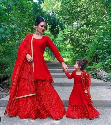 Mom And Daughter Matching Party Wear Red Sharara Suit Online