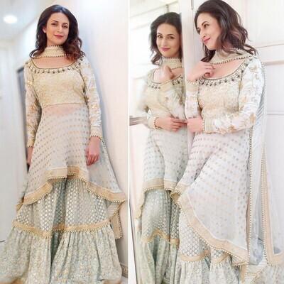 Now Trending Divyanka Tripathi Bollywood Style White Sharara Suit