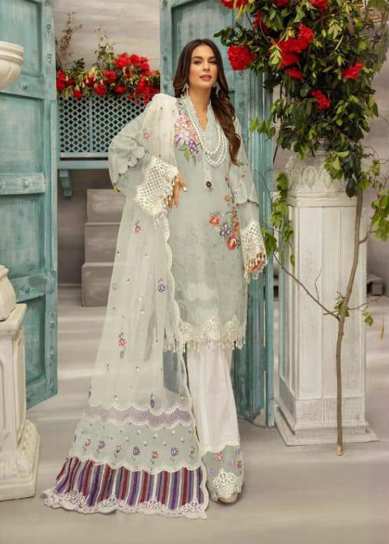 Embroidered Heavy  Jam Satin Cotton Pakistani Suit In White