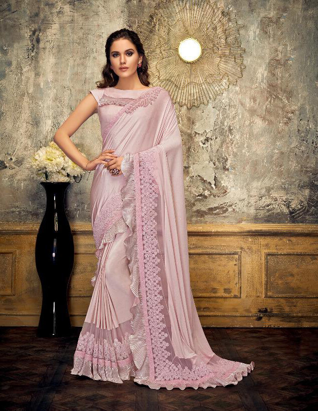 Hand Embroidered Brooch Lycra Saree In Pink