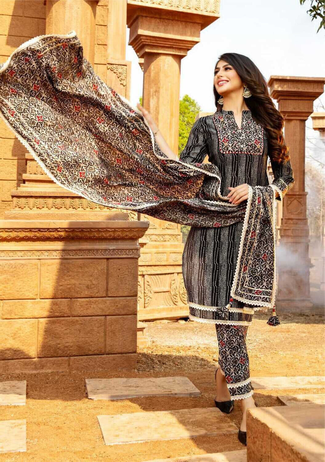 Pure cotton Print With Khaat Work Pant Suit In Black