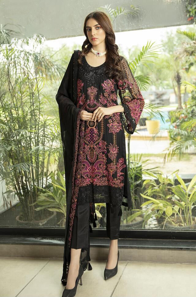 Embroidered Heavy Faux Georgette Pakistani Suit In Black