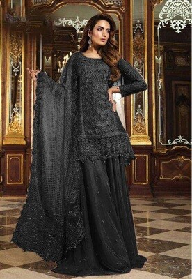 Sequence Embroidered Georgette Sharara Suit In Black
