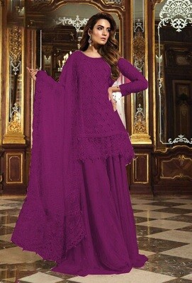 Sequence Embroidered Georgette Sharara Suit In Purple