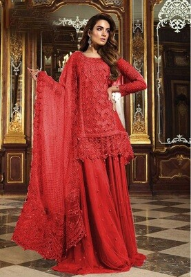 Sequence Embroidered Georgette Sharara Suit In Red