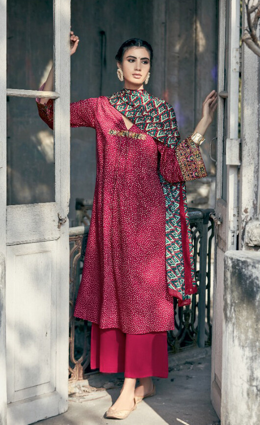 Pure cotton Embroidered Digital Print Pant Suit In Rani