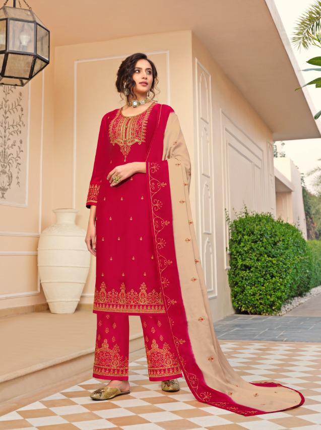 Satin Georgette Embroidered Plazzo Suit In Red